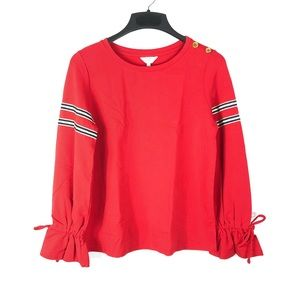 Crown & Ivy French Terry Sweatshirt Stripe Bow Top